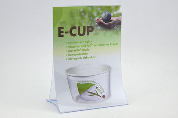 E-CUP Thekenaussteller zur Kundeninformation